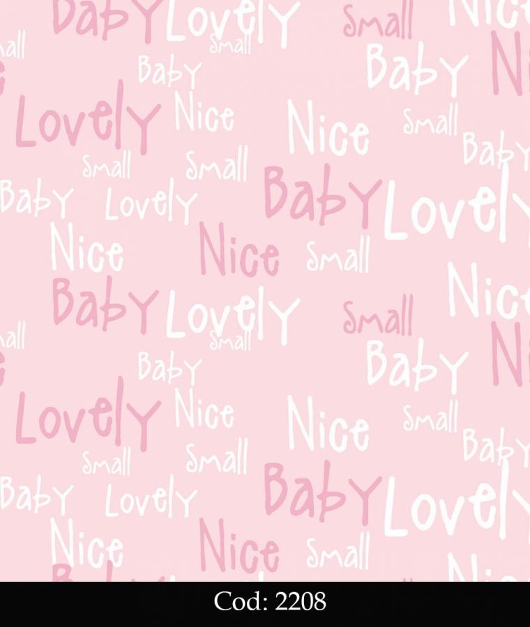 Tapet lavabil roz cu litere pentru copii cod 2208 gama BIM BUM BAM - BLISS ART