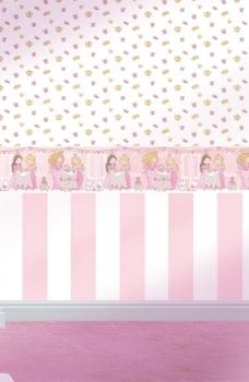 Tapet lavabil roz si bordura tapet cu printese pentru camera fetita gama BIM BUM BAM