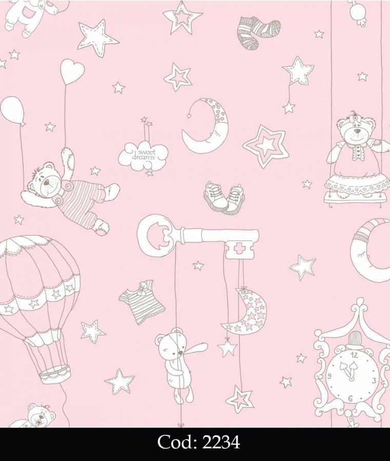 Tapet lavabil roz cu ursuleti pentru copii cod 2234 gama BIM BUM BAM - BLISS ART