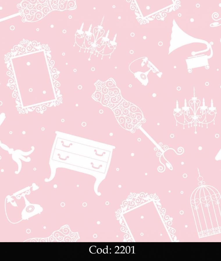 Tapet lavabil roz pentru fetite cod 2201 gama BIM BUM BAM - BLISS ART