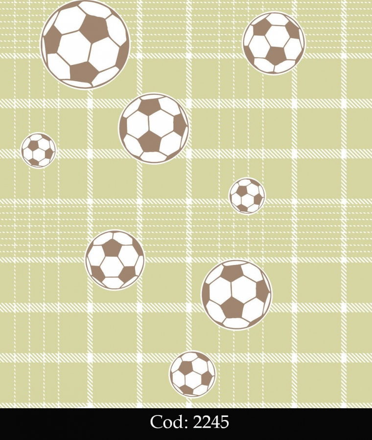 Tapet lavabil verde cu mingi fotbal pentru baieti cod 2245 gama BIM BUM BAM - BLISS ART