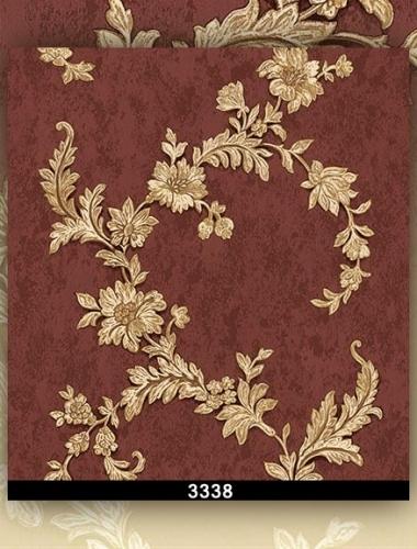 Tapet lavabil visiniu cu flori aurii pentru dormitor si living gama DESIDERIA cod 3338