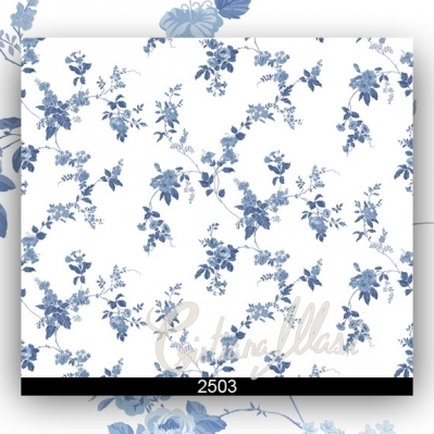 Tapet pentru bucatarie cu flori albastre gama FIORI COUNTRY