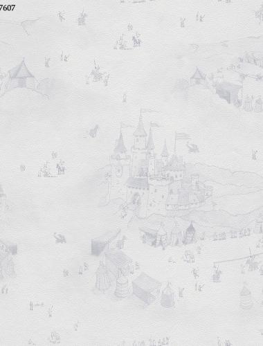 Tapet albastru model castele pentru camera copii  gama VILLA COPENRATH