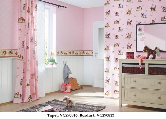 Tapet roz pentru copii model caluti  gama VILLA COPENRATH