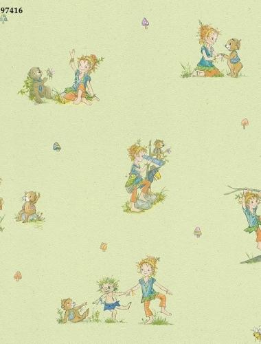 Tapet-pentru-copii-verde-cu-animalute-cod-VC297416-gama-Villa-Copenrath