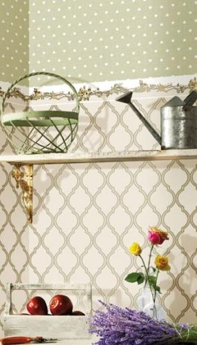 Tapet romburi si bordura tapet cu flori pentru bucatarie gama FIORI COUNTRY