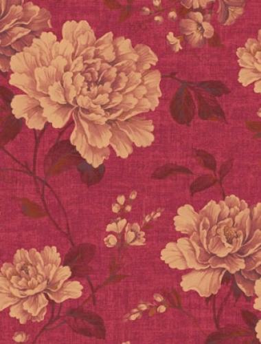 Tapet rosu cu flori vintage Villa Medici cod VMB-003-08-5