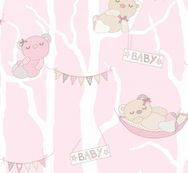 Tapet-roz-cu-ursuleti-pentru-camera-copii-gama-FAVOLA-cod-3201