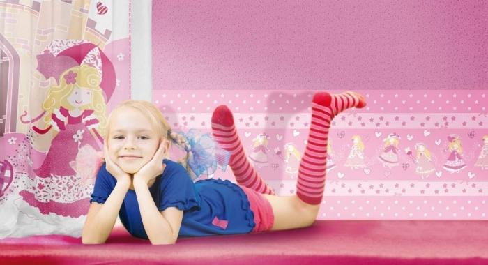 Tapet roz lavabil pentru copii gama CIAO BIMBI