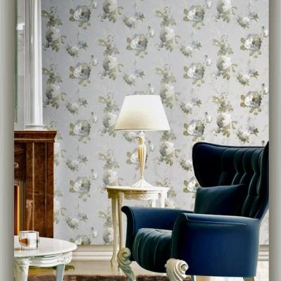 Tapet superlavabil bleu floral pentru living si dormitor gama CARLOTTA cod 1276 si 1206