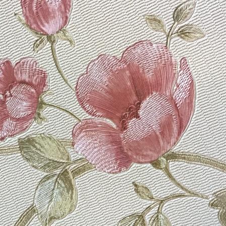 Tapet superlavabil din vinil model cu maci roz gama DESIDERIA
