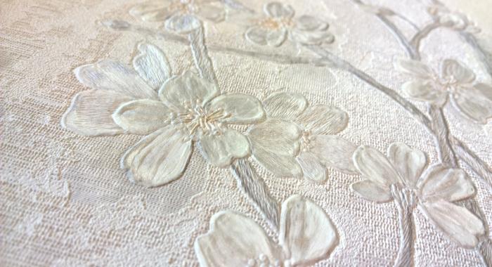 Tapet lavabil cu flori albe gama LINPHA