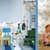 Tapet albastru lavabil pentru copii gama CIAO BIMBI