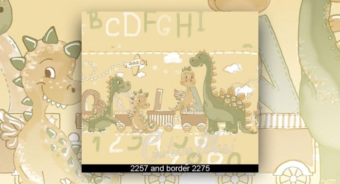 Tapet lavabil copii model cu cifre si bordura tapet copii cu dragoni gama BIM BUM BAM