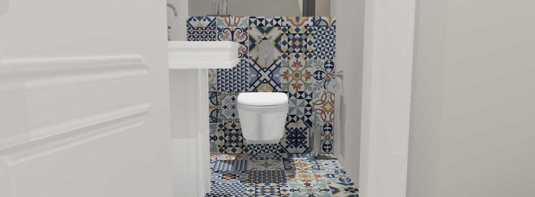 Amenajare baie de serviciu cu gresie decorativa