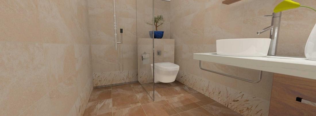 Amenajare baie cu dus cu faianta decorativa cu aspect de  piatra