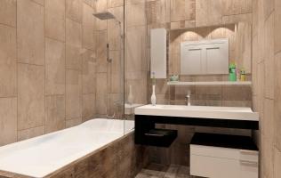 Amenajare baie cu faianta imitatie lemn