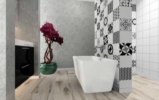 Amenajare baie cu decorativa sidefata