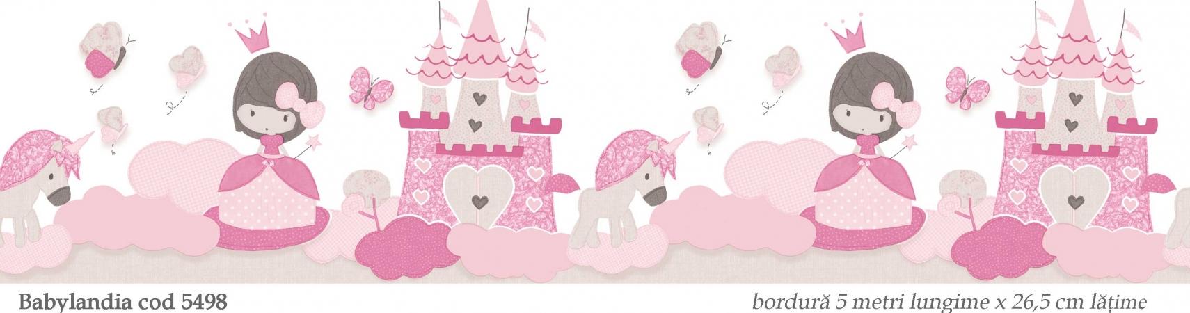 bordura-tapet-roz-model-printese-si-unicorni-babylandia-5498