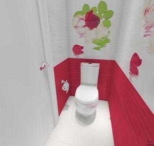 Amenajare baie cu faianta decor cu trandafiri