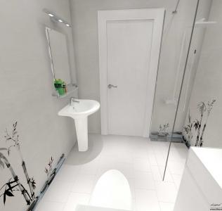 Faianta decorativa cu bambus pentru baie