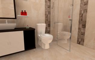 Amenajare baie cu faianta tip piatra