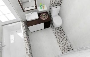 Amenajare baie cu faianta tip mozaic
