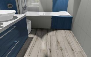 Amenajare baie cu faianta albastra Cersanit