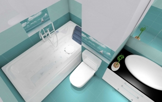 Amenajare baie cu faianta si gresie turcoaz