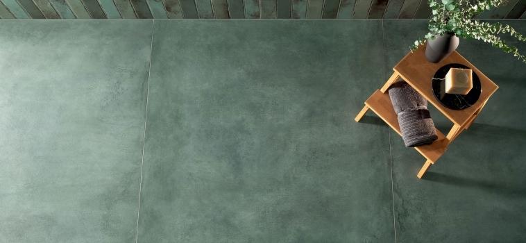 Gresie verde cu aspect de stucatura Patina Plate Green Mat