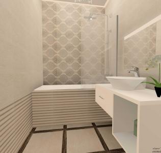 Amenajare baie cu faianta si gresie in stil clasic