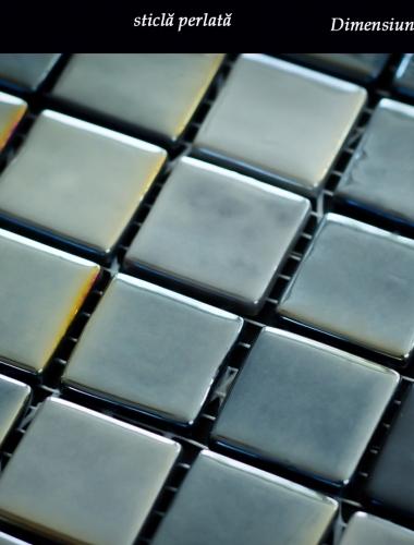 mozaic antracit din sticla perlata dimensiune placa 31,5 x 31,5 cm