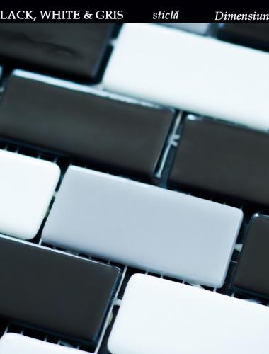 mozaic din sticla alb negru gri dimensiune placa 31,5 x 31,5 cm