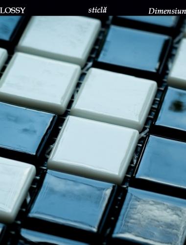 mozaic din sticla alb si negru lucios  dimensiune placa 31,5 x 31,5 cm