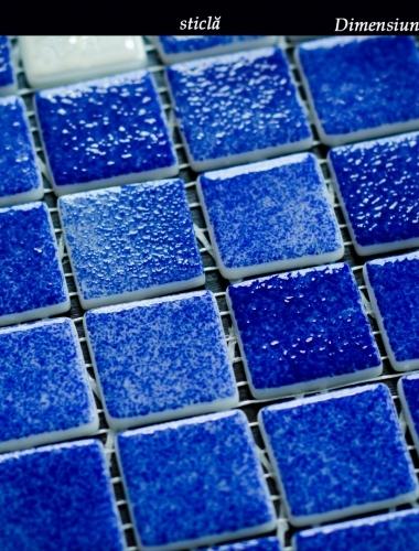 mozaic din sticla albastru cu alb mix zafiro 30,5 x 30,5 cm placa