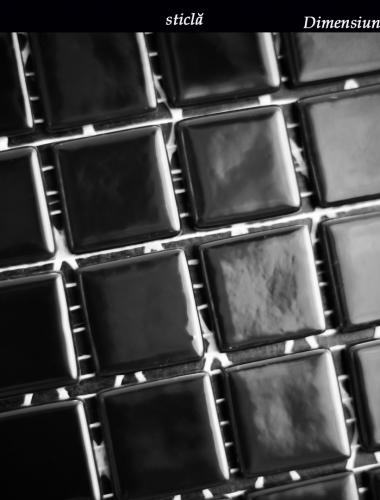 mozaic din sticla negru lucios dimensiune placa 31,5 x 31,5 cm 2