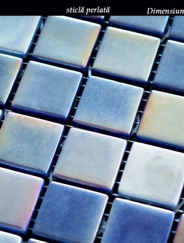 mozaic din sticla perlata albastru lux 31,5 x 31,5 cm pe placa