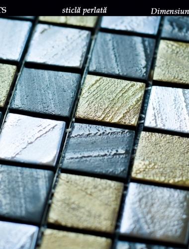 mozaic din sticla perlata maro dark brown arts dimensiune placa 31,5 x 31,5 cm 2