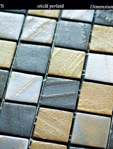mozaic din sticla perlata maro dark brown arts dimensiune placa 31,5 x 31,5 cm