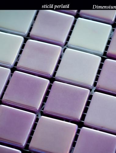 mozaic din sticla perlata mov mangeta lux 31,5 x 31,5 cm pe placa
