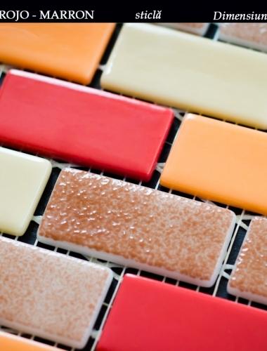 mozaic din sticla rosu cu maron dimensiune placa 31,5 x 31,5 cm