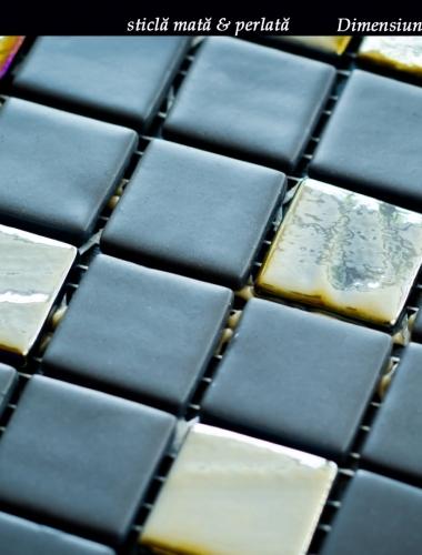 mozaic gris din sticla mata si sticla perlata 31,5 x 31,5 cm pe placa