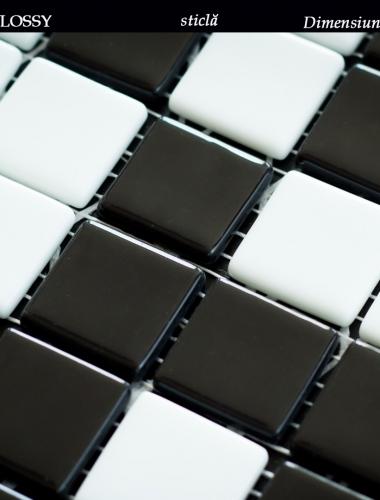 mozaic lucios din sticla alb si negru dimensiune placa 31,5 x 31,5 cm