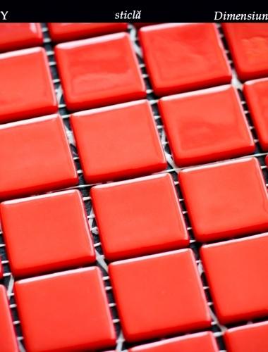 mozaic rosu lucios din sticla mata dimensiune placa 31,5 x 31,5 cm