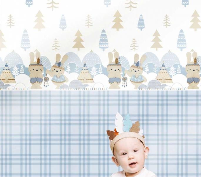 Tapet cu iepurasi si copacei pentru copii Babylandia