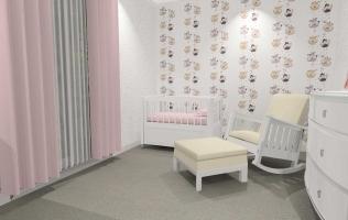 Amenajare camera fetita cu tapet cu printese