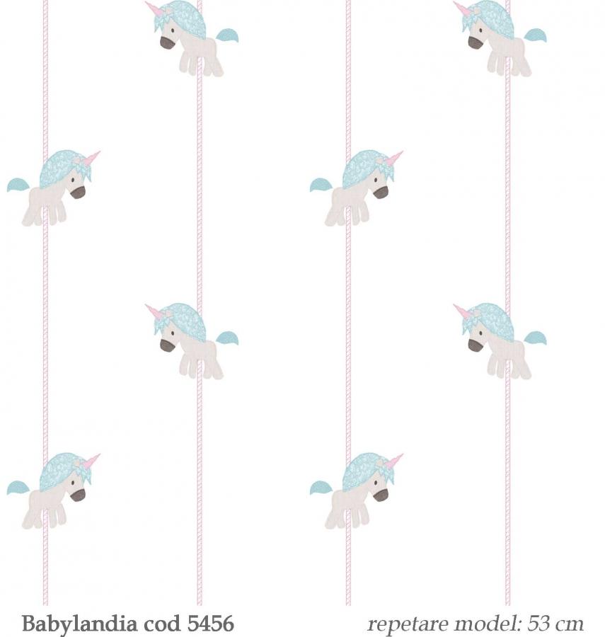 tapet-cu-unicorni-bleu--gama-Babylandia-cristiana-masi-cod-5456