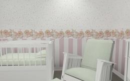 Amenajare camera bebe cu tapet cu ursuleti