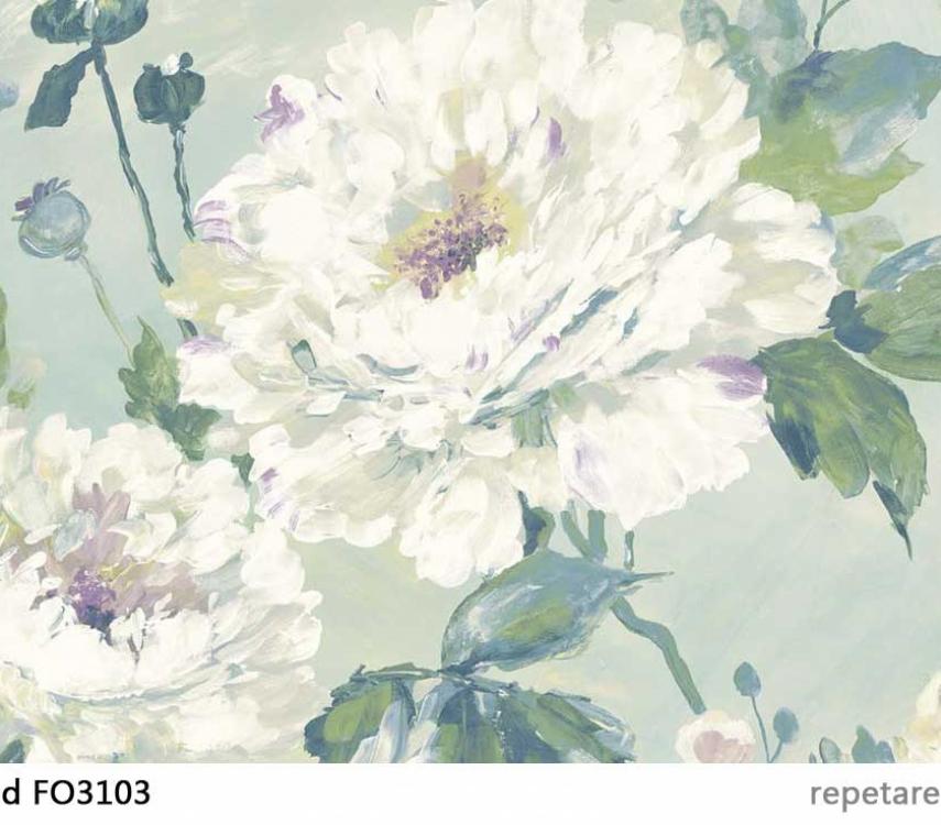 tapet-turcoaz-cu-flori-albe-fo3103